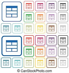 Spreadsheet horizontally merge table cells outlined flat color icons