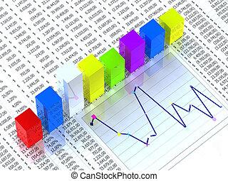 spreadsheet, met, collorful, grafiek