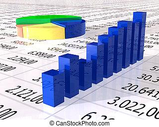 spreadsheet, met, kleurrijke, grafiek