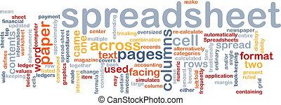spreadsheet, palavra, nuvem