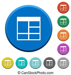 Spreadsheet vertically merge table cells round color beveled buttons with smooth surfaces and flat white icons