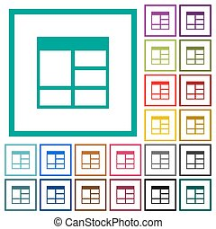 Spreadsheet vertically merge table cells flat color icons with quadrant frames
