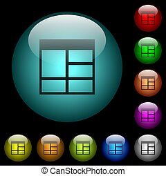 Spreadsheet vertically merge table cells icons in color illuminated glass buttons