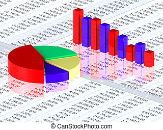 Spreadsheet with colorful graph bars and numbers in background