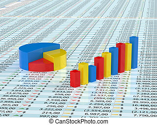 Spreadsheet with blue, yellow and red graph bars with numbers in background