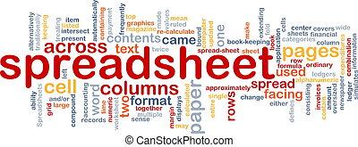 spreadsheet, woord, wolk