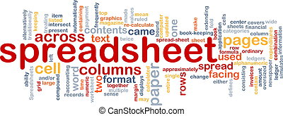 Spreadsheet word cloud - Word cloud concept illustration of ...