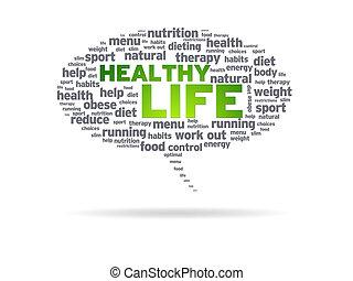 sprechblase, -, gesunde, leben