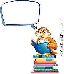 sprechblase, schablone, mit, eule, lesende , buecher