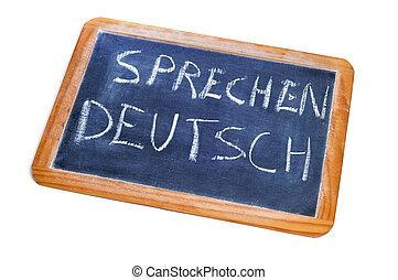 sprechen, deutsch, alemán, es, hablado