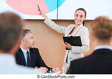 sprechende , über, achievements., sicher, junge frau, in, formalwear, zeigen, leinwand, und, lächeln, während, machen, darstellung, in, sitzungssaal, mit, leute, auf, vordergrund