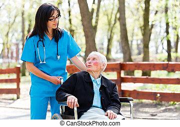 sprechende , art, patient, älter, krankenschwester
