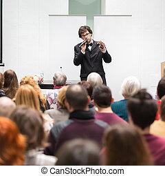 sprechende , conference., sprecher, geschaeftswelt