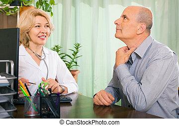 sprechende , doktor, mann, antikisiert, patient, senioren