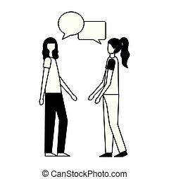 sprechende , frauen, sprechblase, gespräch