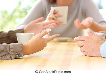 sprechende , friends, bar, drei, hände