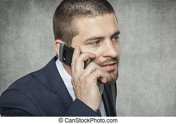 sprechende , geschäftsmann, telefon