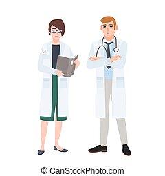 sprechende , jedes, weißes, bunte, physicians., vektor, diskussion, medizin, gespräch, tragen, karikatur, zwischen, wohnung, mann- frau, illustration., praktiker, oder, mann, ander., weibliche , mäntel, doktoren
