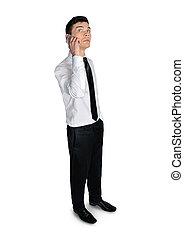 sprechende , mann, geschäftstelephon
