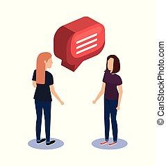 sprechende , paar, frauen, sprechblase