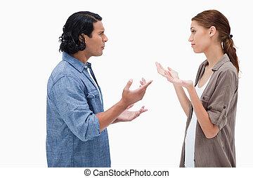sprechende , paar, seitenansicht