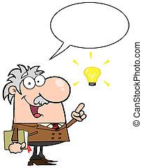 sprechende , professor, über, idee