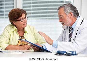sprechende , seine, patient, weiblicher doktor