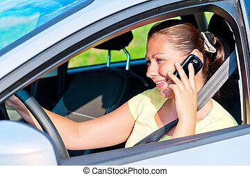 sprechende, Telefon, frau, fahren, Auto