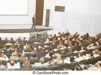 sprecher, an, a, geschäft versammlung, und, presentations., der, publikum, auf, der, groß, zahl, von, leute