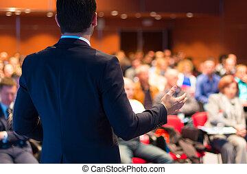 sprecher, an, geschäftskonferenz, und, presentation.