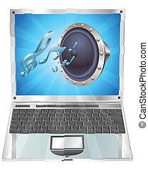 sprecher, ikone, laptop, begriff