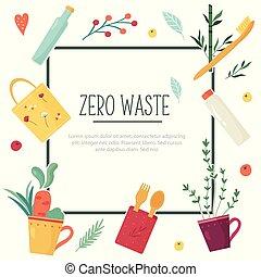 spreco, zero, concetto, disegno, elements.