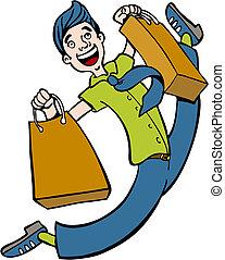 spree shopping, homem