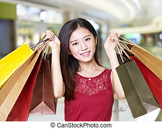 spree, shopping mulher, jovem, asiático