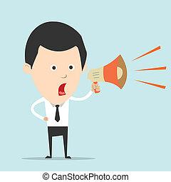 spreken, amplifer, zakenmens