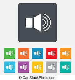 spreker, volume, meldingsbord, icon., geluid, symbool.