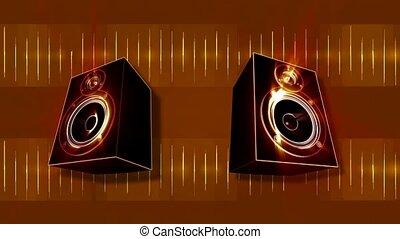 sprekers, audio, pulseren