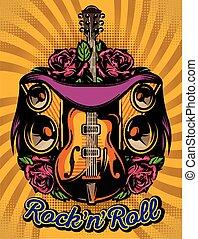sprekers, kleur, roos, vector, gitaar, mal, poster