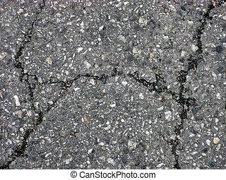 sprickor, på, asfalt