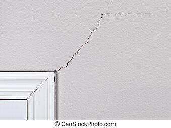 sprickor, på, väggen