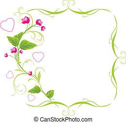 sprig, 由于, 桃紅色花, 以及, 心