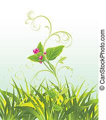 sprig, 由于, 桃紅色花, 以及, 草