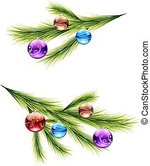 Sprig from the Christmas tree, with round toys (balls), cartoon on a white background,