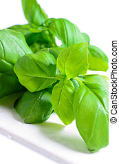 Sprig of basil in a white napkin
