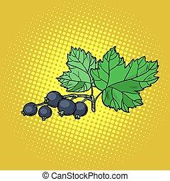 sprig of black currant. Pop art retro vector illustration...