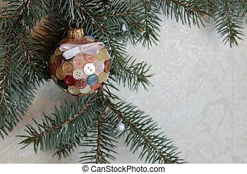 Sprig of Christmas trees and tree ball