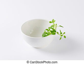 fresh oregano in white bowl