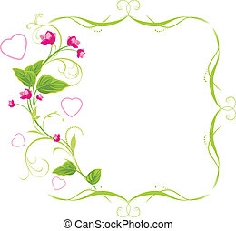 Sprig with pink flowers and hearts. Frame. Vector...