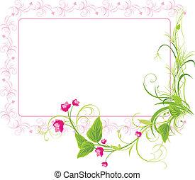 Sprig with pink flowers. Frame. Vector illustration