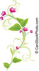 Sprig with pink flowers. Vector illustration